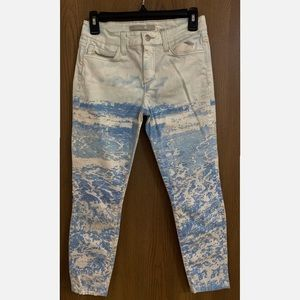 Joe's Jeans Cropped Jeans White and Blue Denim